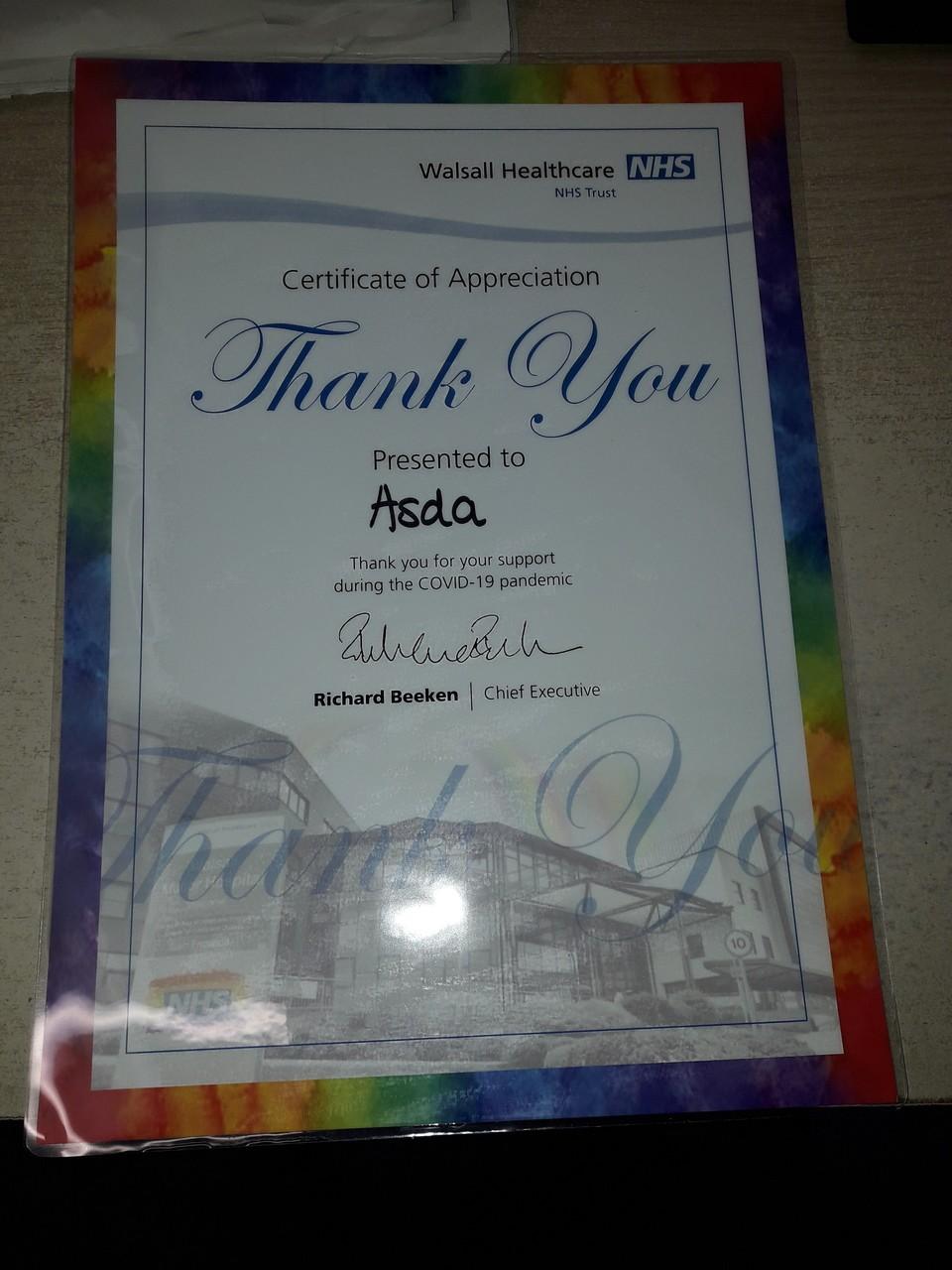 Hospital thank you | Asda Darlaston