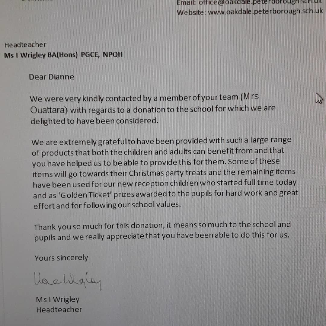 Donation to Oakdale primary school | Asda Peterborough