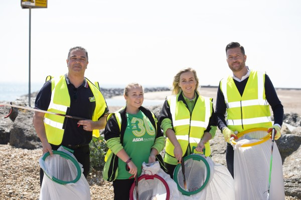 Asda colleagues from stores in Kent and East Sussex teamed up to clean Folkestone beach