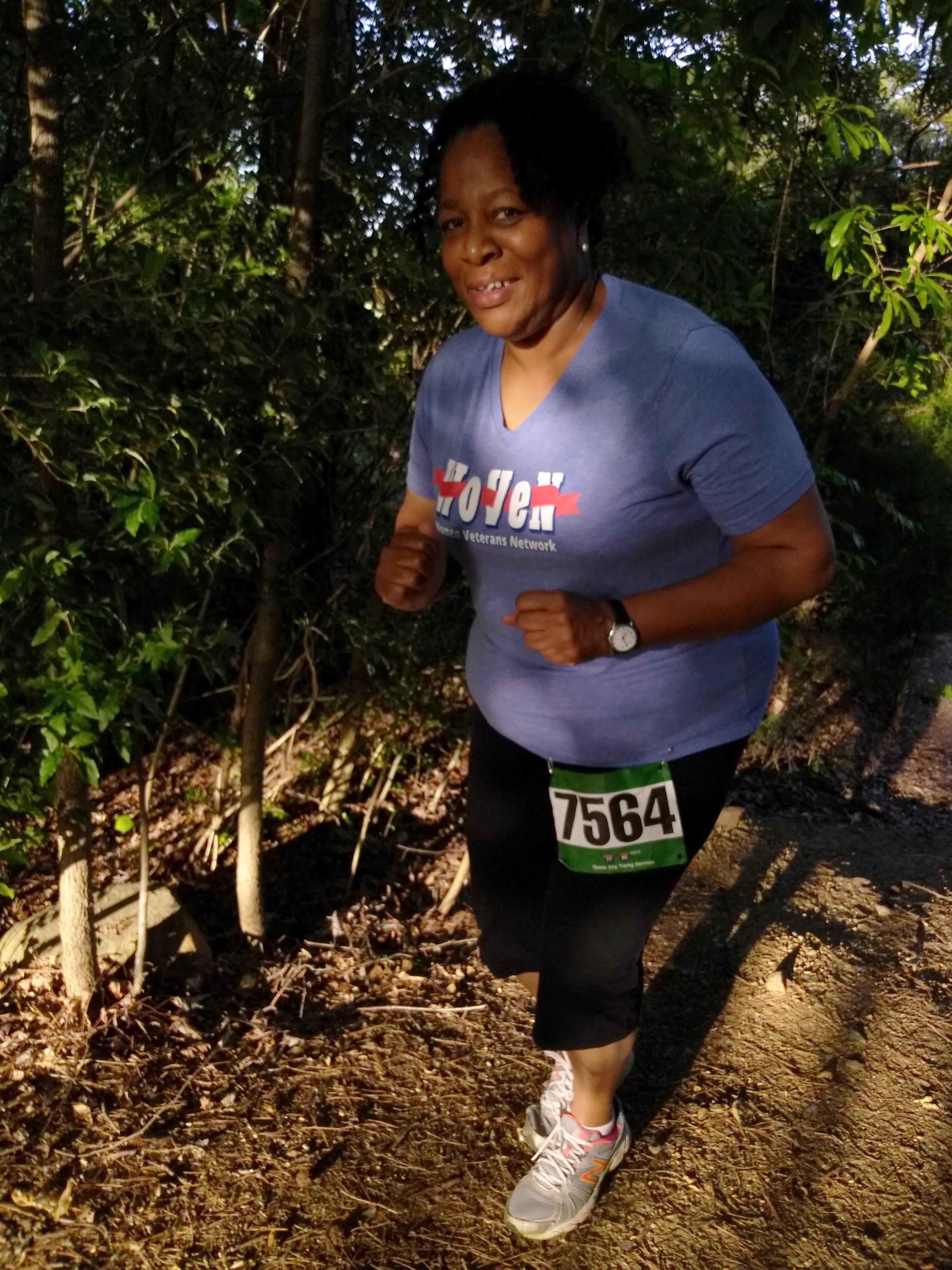 U.S. Marine Corps veteran Tina Brice smiles at a race