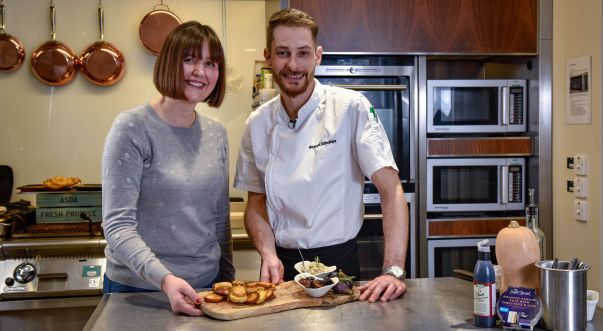 Blogger Sophie Skipp with Asda development chef Andrew Johnston