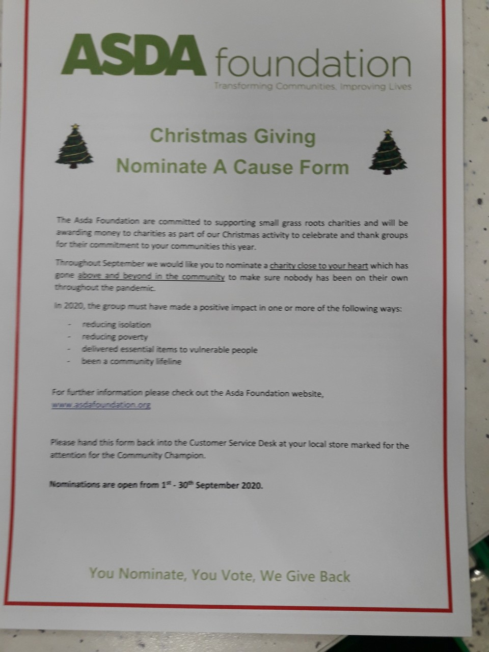 Christmas Giving – Nominate a cause | Asda Bromborough