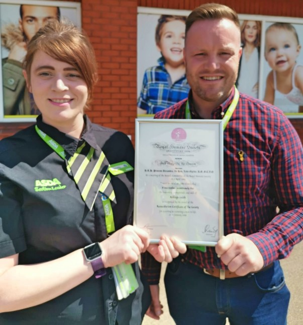 Corby security colleague receives Royal Humane Society award for saving man's life