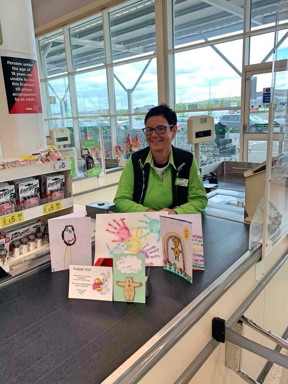 Popular checkouts colleague Brenda from Asda Antrim receives 'fan mail' from customers' kids | Asda Antrim