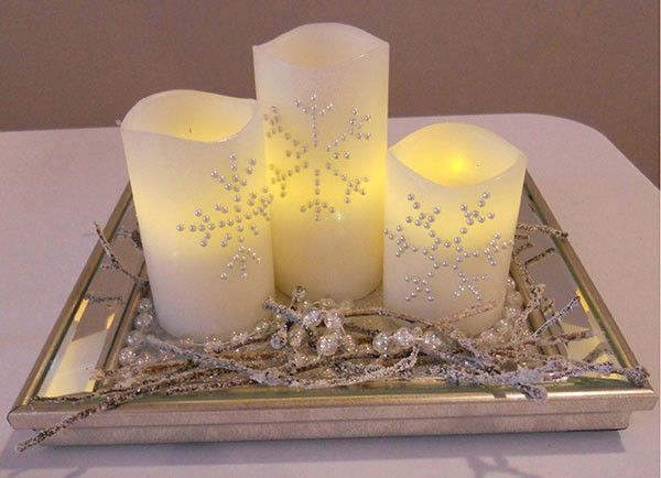 Blog promo image - White Candles with Snowflakes