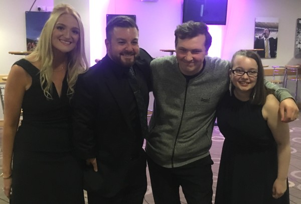 Asda Hull Living colleague Adam with Alex Brooker, Emma Hoe and his friend Jemma