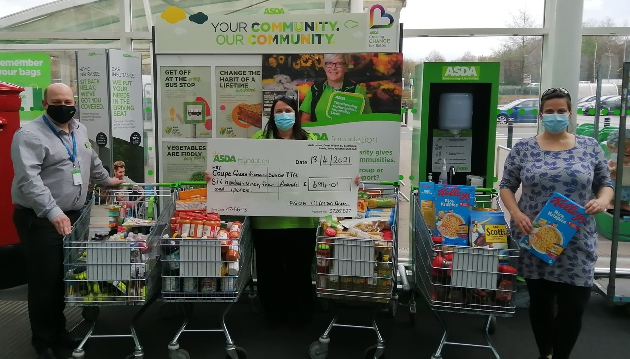 Grant for Coupe Green Primary school PTA for £695. | Asda Clayton Green
