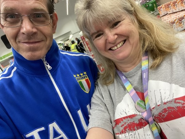 Leigh Dodds and Fabrizio Facchini from Asda Eastleigh support England and Italy at Euro 2020