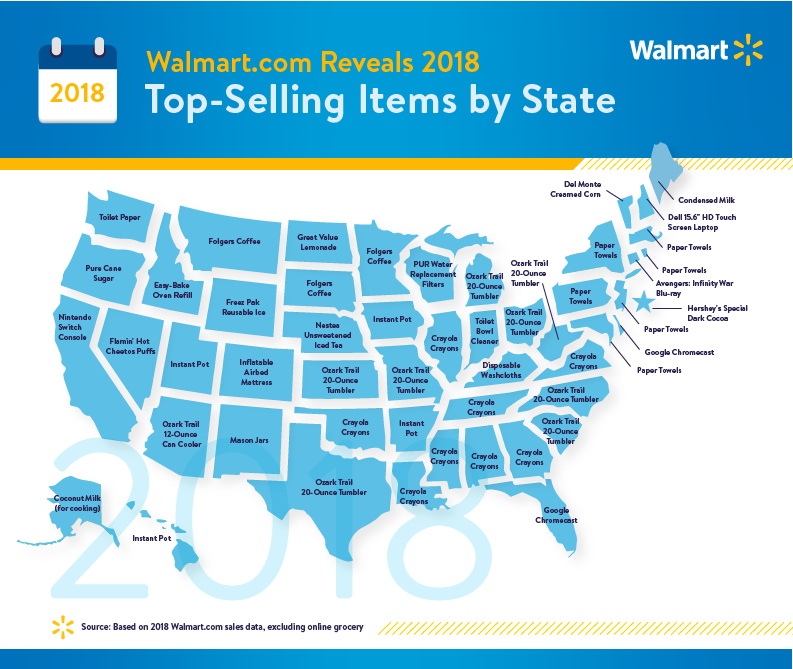 Walmart.com 2018 top-selling items by state