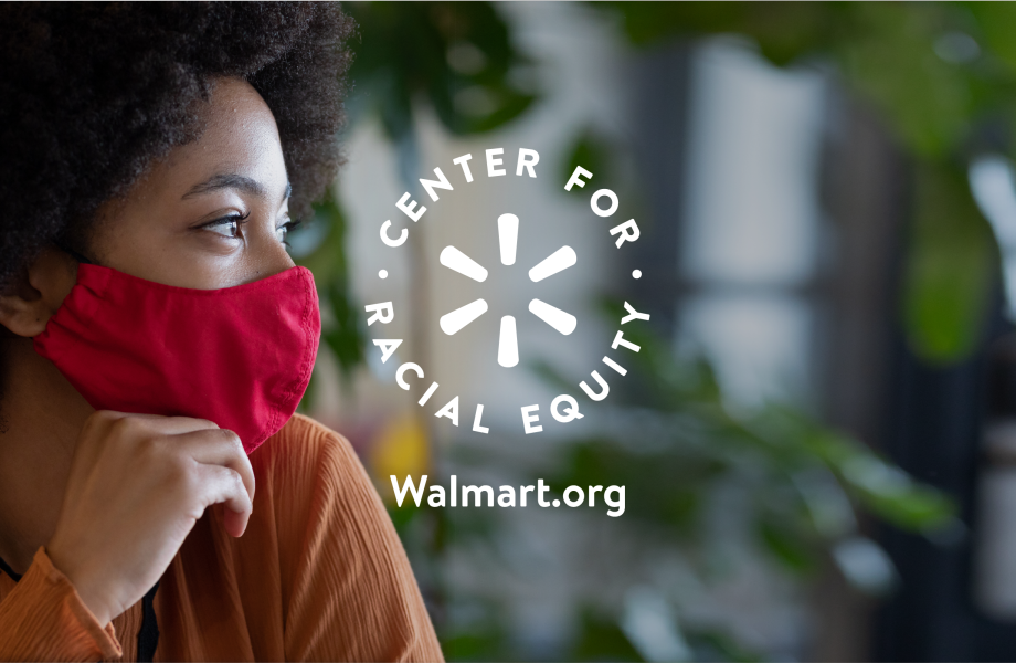 Center for Racial Equity logo with person wearing mask