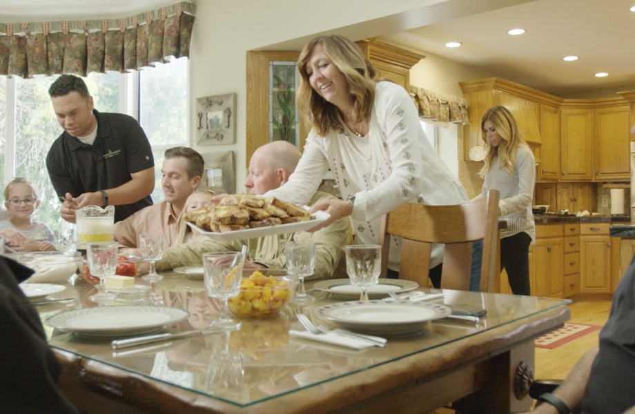 The Jones Creek Beef family sits down for a meal