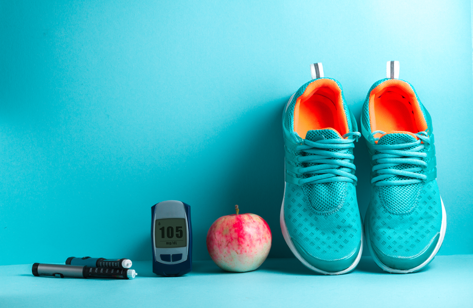 Stock - Running Shoes, Apple and Diabetes Testers