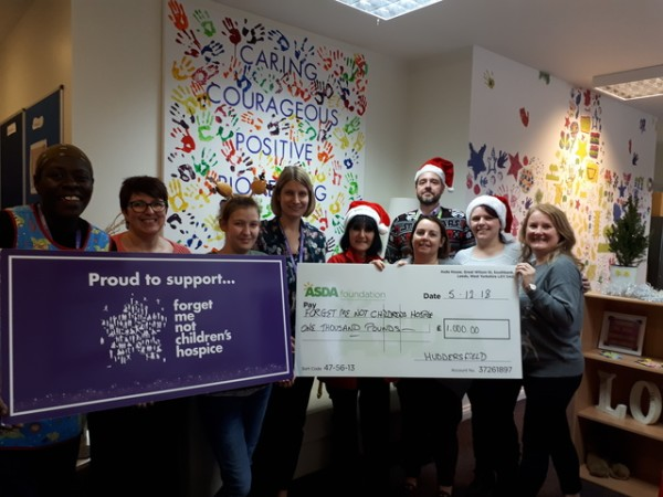 Asda Huddersfield donation to Forget Me Not Children's Hospice for a Christmas party