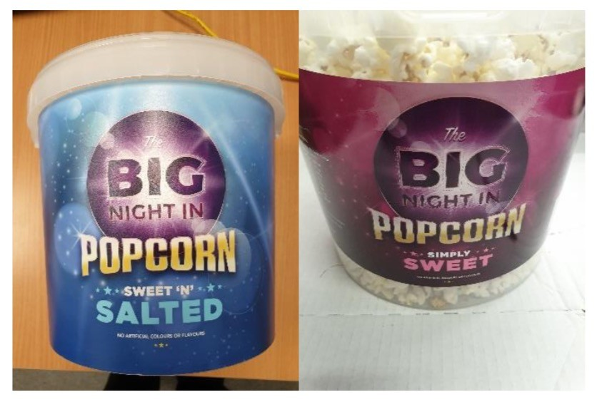 The Big Night In Popcorn 250g Sweet 'n' Salted and Simply Sweet