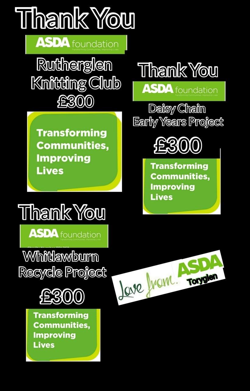 Three Local Groups receive £300 | Asda Toryglen