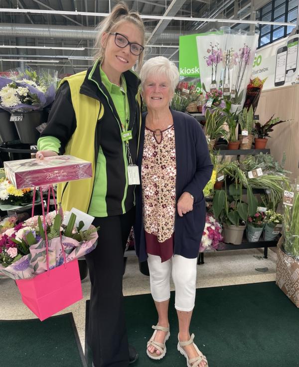 Cherisse Robinson from Asda Swindon Haydon with customer Beryl Hawkridge