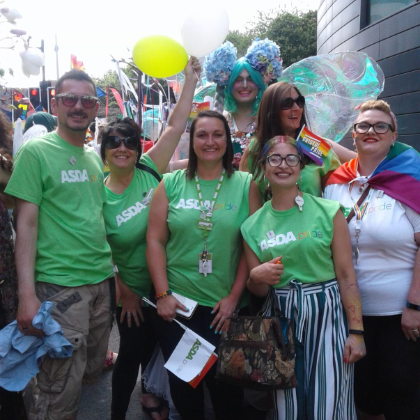 Colleagues from Asda Longwell Green support Bristol Pride