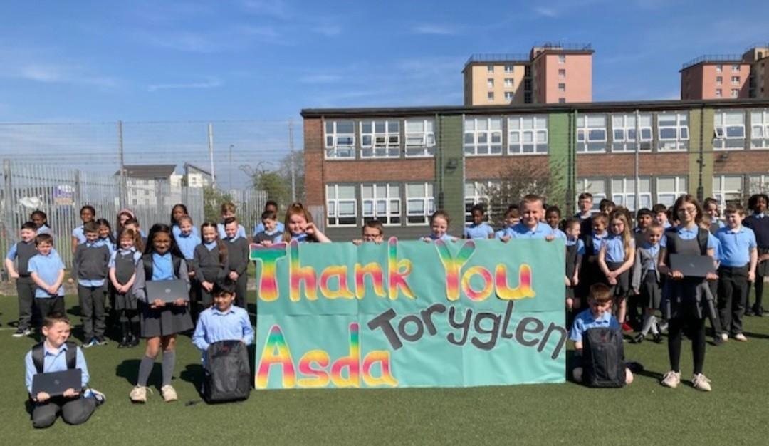 St Brigid's Primary School laptop donation | Asda Toryglen