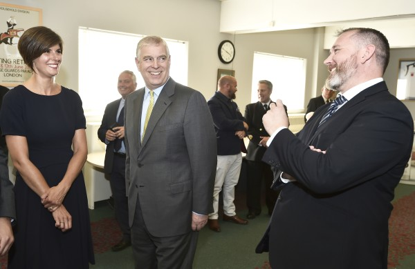 The Duke of York with Polly Jones from Asda and Chris Gillan of Heroes Vodka