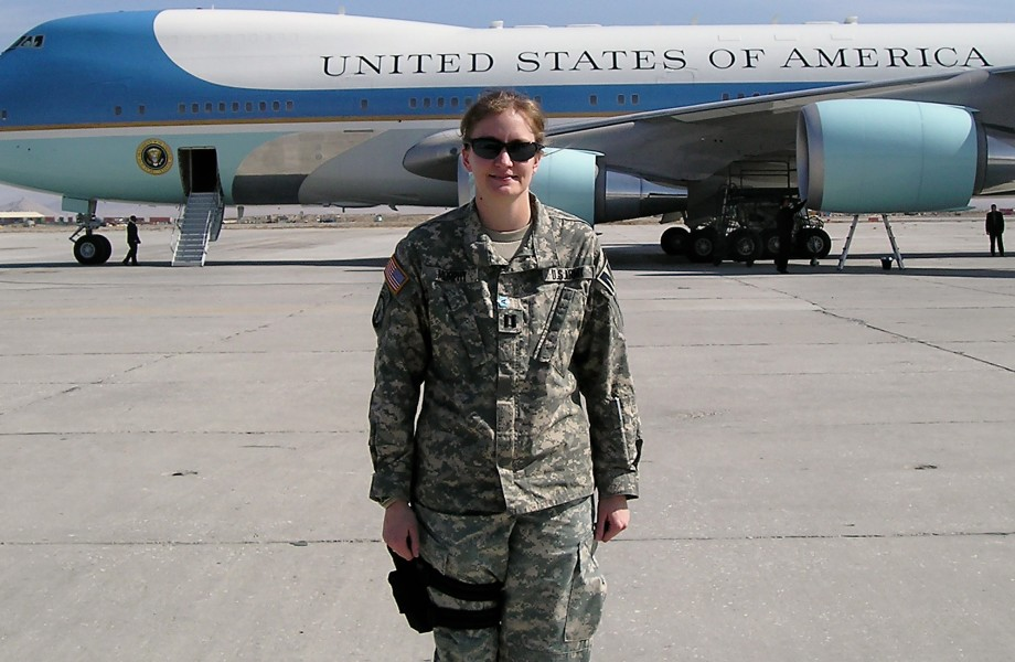 Associate Jessica Huntsman with Air Force One