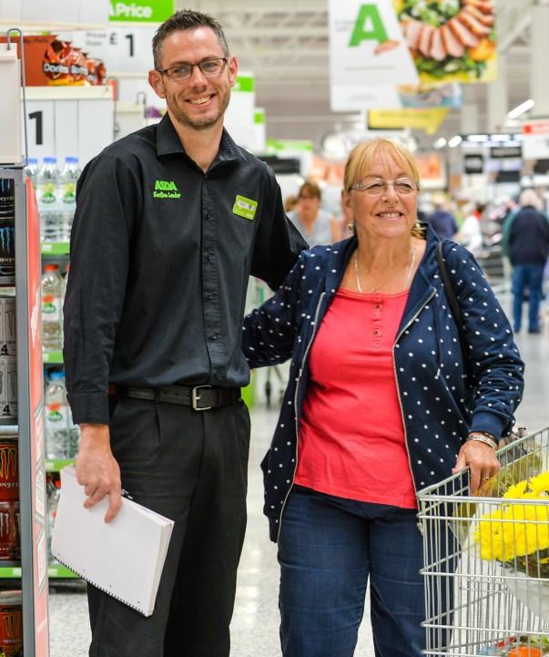 David Bould at Asda Morley communicates with customers using a pad and sign language