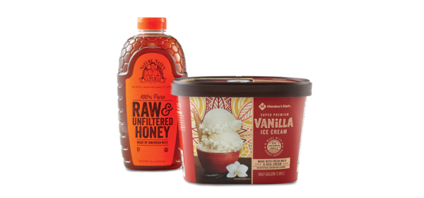 Member's Mark ice cream and honey
