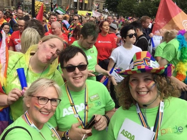 Asda colleagues supporting Liverpool Pride