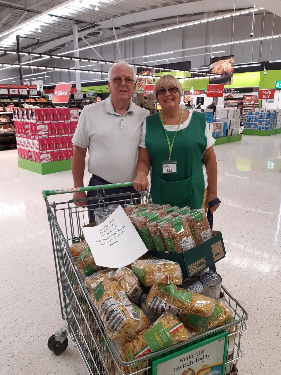Donation to Irlam and Cadishead Foodbank | Asda Trafford Park