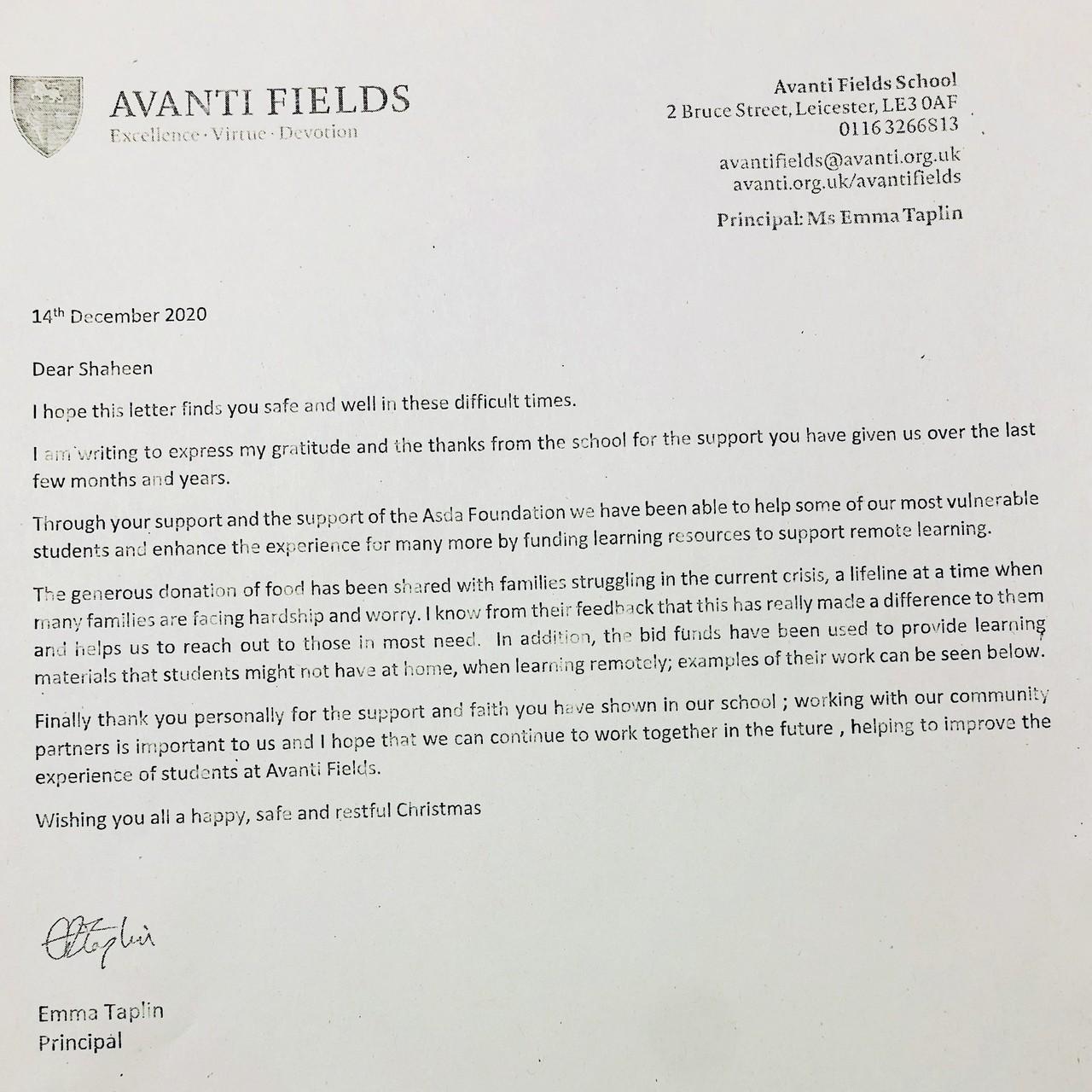 Thank you letter from Avanti Fields School | Asda Leicester Abbey Lane