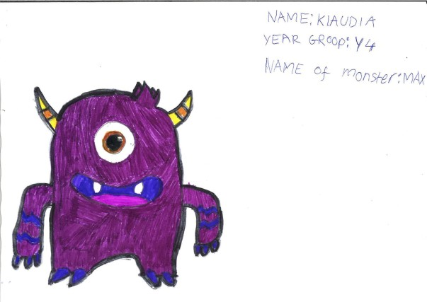 Drawing of a purple monster