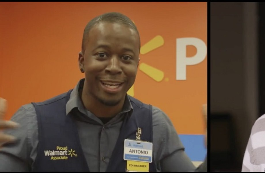 Two associates smile as they introduce themselves as Walmart Radio DJs