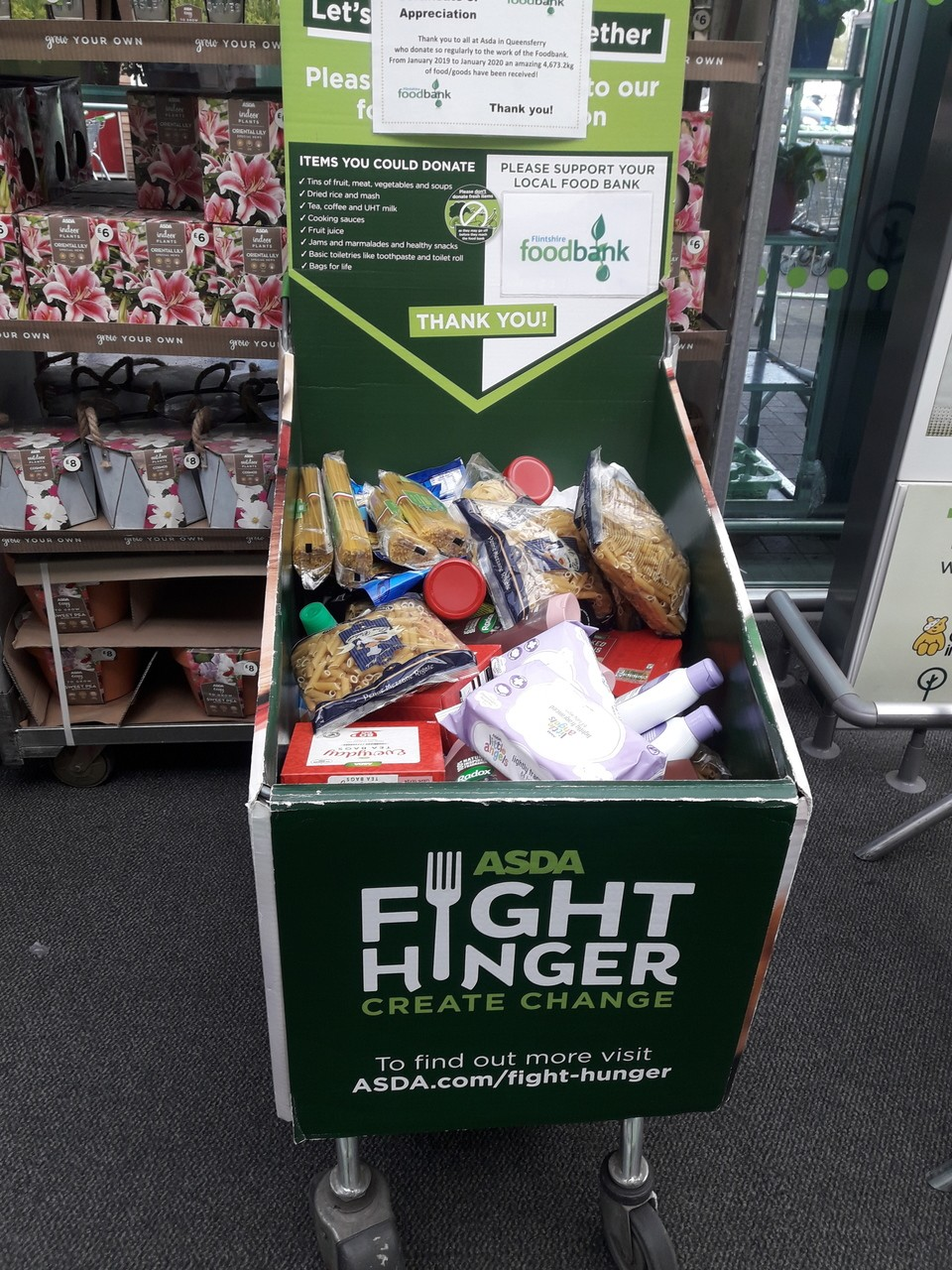 Donations to food bank | Asda Queensferry