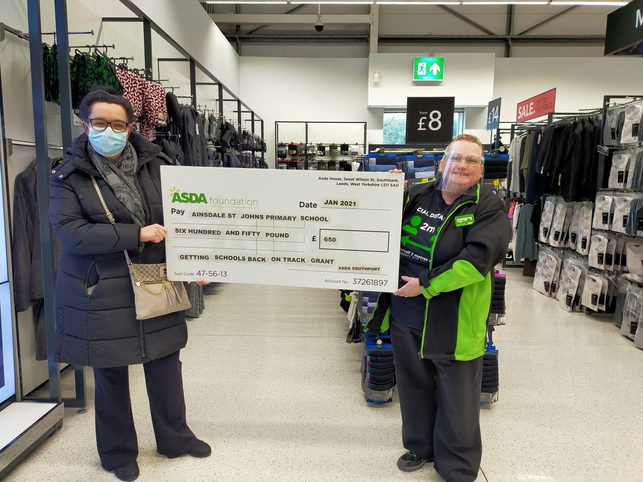 Donation to Ainsdale St John's Primary School | Asda Southport