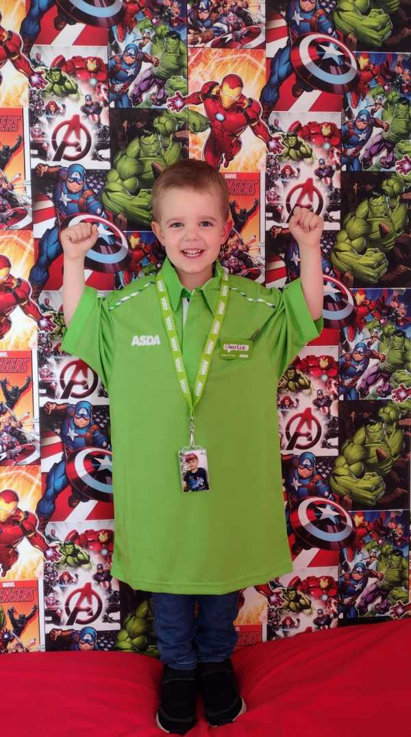 Superhero fan Charlie French calls Asda delivery driver Bryn Parkman Asda Man