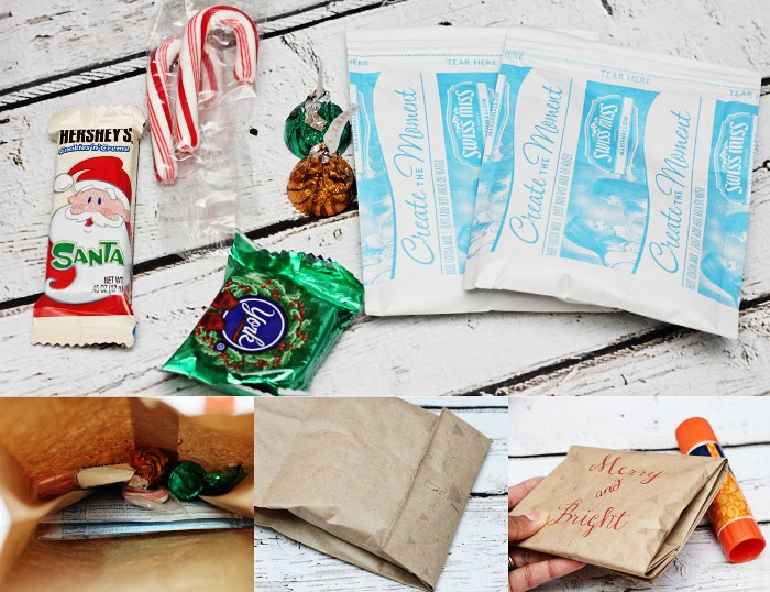 Holiday hot cocoa gift bags
