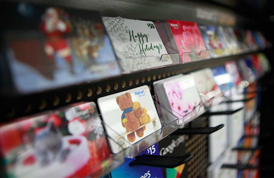 Gift cards on store shelves