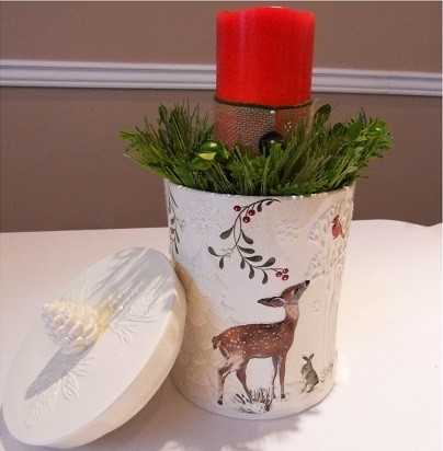 Holiday Decorations - Canister with Floral Foam and Candle