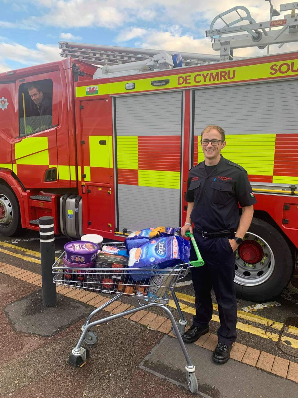 Donation to fire station | Asda Newport