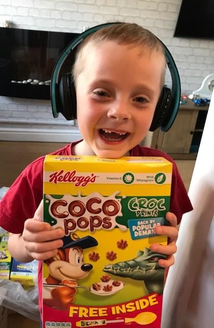 Evan Matthews with his special Coco Pops delivery