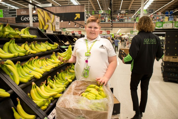 Teenager Finley Bushnell loves helping when he shops at Asda Portsmouth
