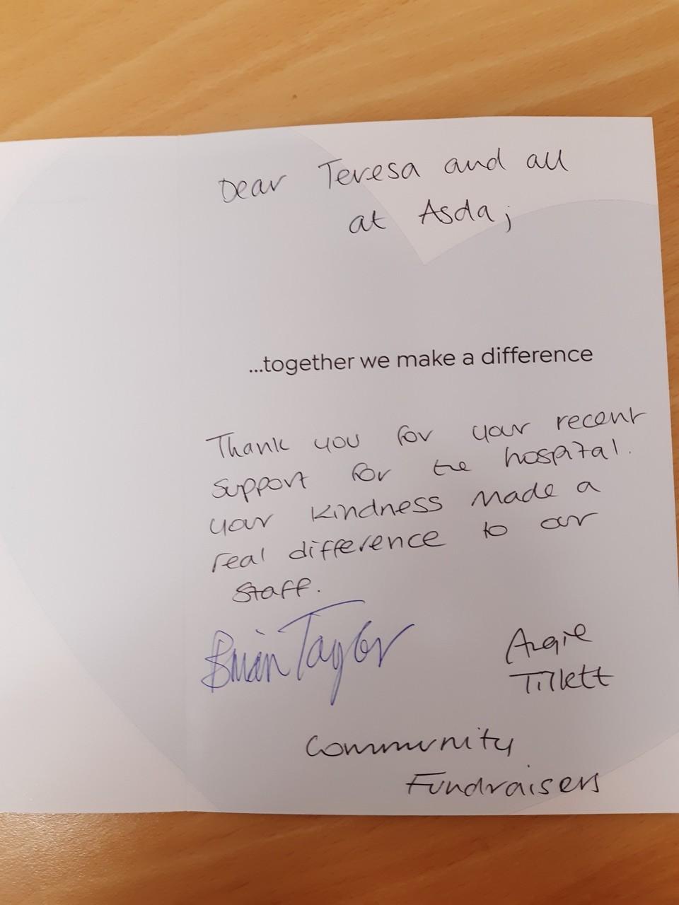 Donation for Ipswich hospital | Asda Ipswich Stoke Park