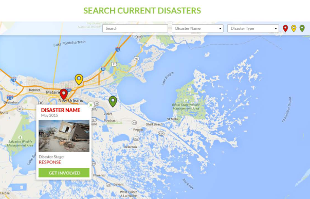 An interactive image of a map is shown with impacted cities from disasters