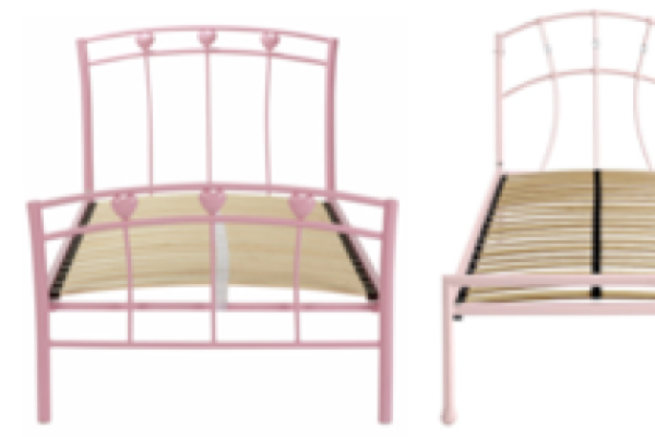 George Home Hearts Bed, Pink, Single