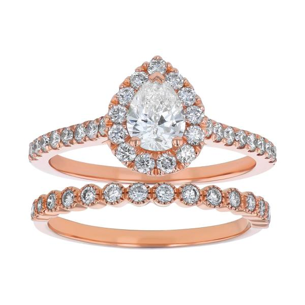 S Collection Bridal 1.25 CT. T.W. Pear Shaped Diamond Halo Ring Bridal Set in 14K Rose Gold