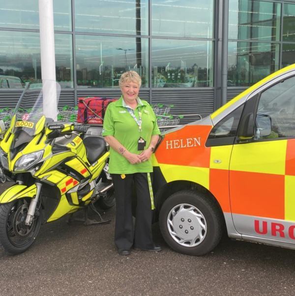 Highland and Islands Blood Bikes new new van after Helen Robertson from Asda Inverness