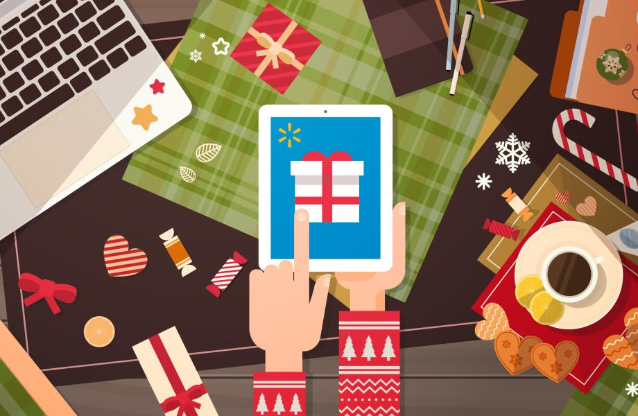 Illustration of Holiday Shopping on Tablet Device