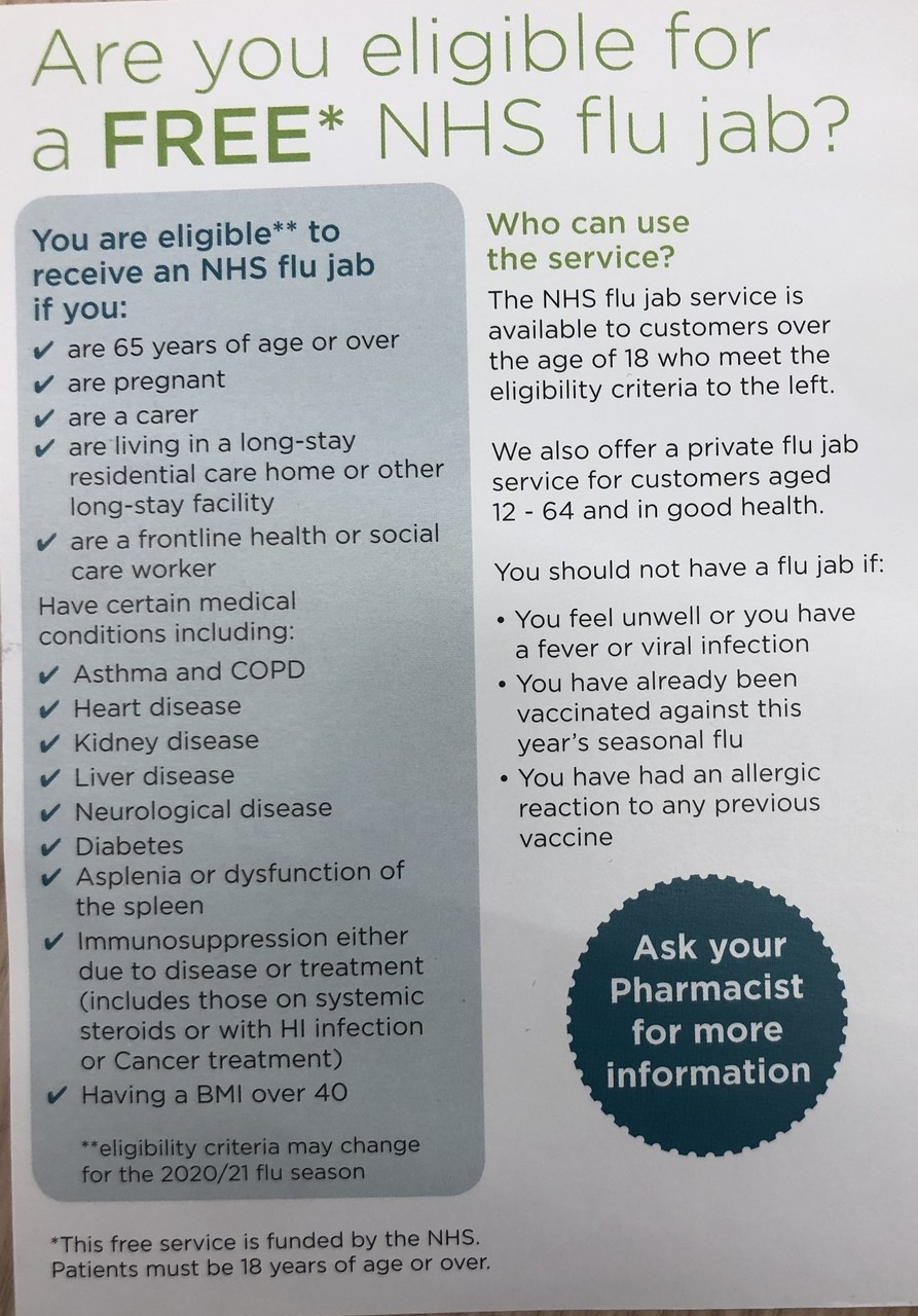 Flu jab | Asda Chelmsley Wood