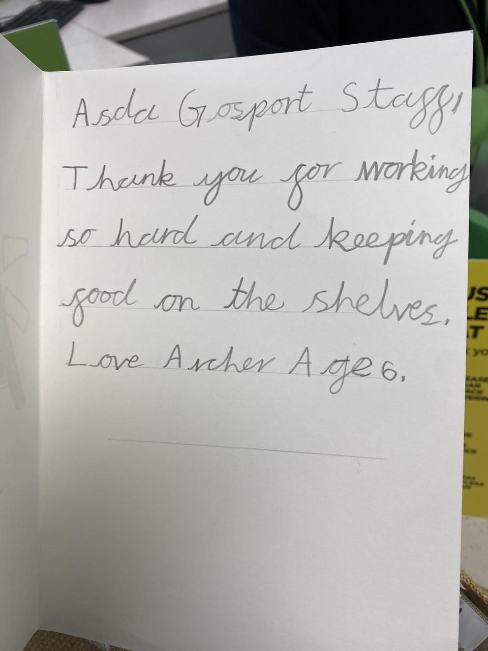 A little thanks goes a long way. | Asda Gosport