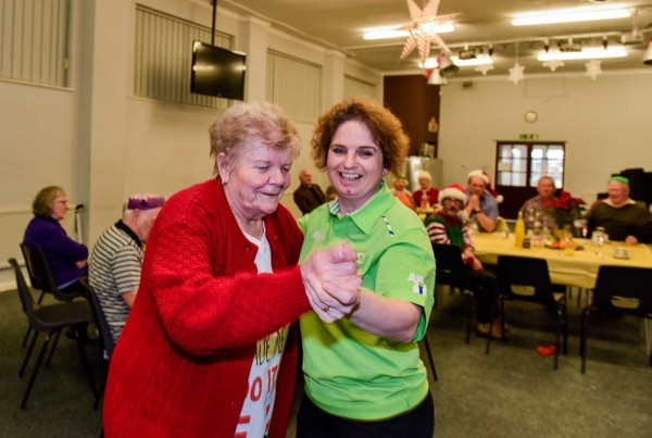 Carla from Asda Sheffield dancing with one of the guests