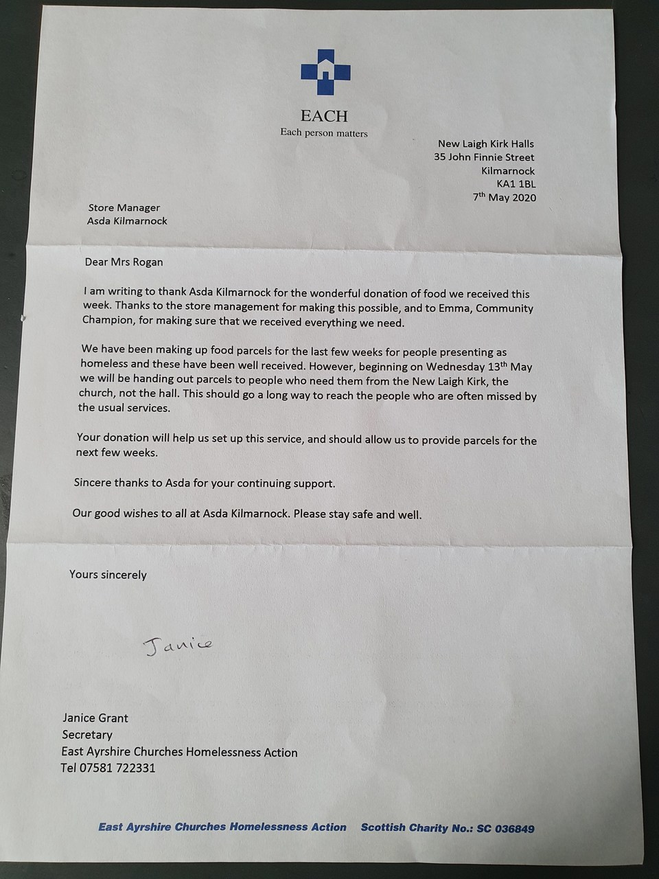 Thank you letter | Asda Kilmarnock